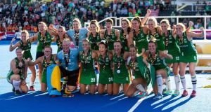 Ireland's squad celebrate with their silver medals  after the FIH Women's Hockey World Cup defeat to the Netherlands at Lee Valley Hockey and Tennis Centre. Photograph:  Paul Harding/PA Wire