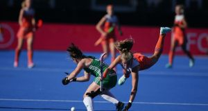 Ireland's Shirley McCay  vies for possession  with Netherlands' Xan de Waard during the FIH Women's Hockey World Cup Final  at Lee Valley Hockey and Tennis Centre. Photograph: Daniel Leal-Olivas/AFP/Getty Images