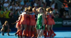 Ireland's Kathryn Mullan dejected at the final whistle as The Netherlands  win the Women's Hockey World Cup Final at  Lee Valley Stadium in London. Photograph: Morgan Treacy/Inpho