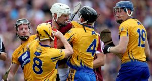 Tempers flare between Clare's Jack Browne and Joe Canning of Galway. Photograph:  ©INPHO/Bryan Keane