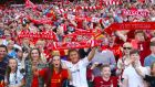 Liverpool fans in the stands during the pre-season friendly match at the Aviva Stadium, Dublin. Photograph: PA