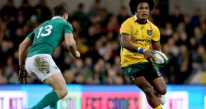 Henry Speight in action for Australia against Ireland in 2014. Photograph: James Crombie/Inpho