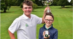 Irish Under-14 Boys champion Daniel Mulligan from Laytown and Bettystown with Balmoral's Fionn Dobbin, the Under-13 medal winner at Mullingar. Photograph: Cashman Photography