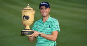 Justin Thomas  after winning the WGC-Bridgestone Invitational at Firestone Country Club on Sunday. Photograph: Sam Greenwood/Getty Images