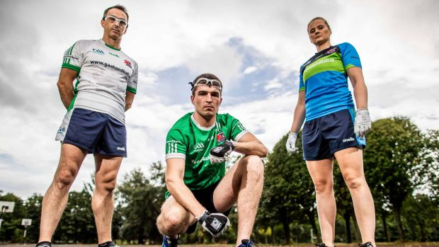 Reigning handball world champion Paul Brady, Martin Mulkerrins, Team Ireland captain and world champion Aisling Reilly. Photograph: Morgan Treacy/Inpho