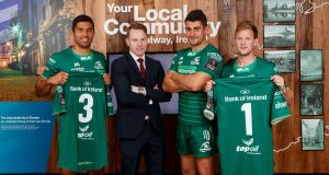 Connacht players Jarrad Butler (left), Tiernan O'Halloran and Kieran Marmion with Alan Durcan, Bank of Ireland's provincial director for Connacht.