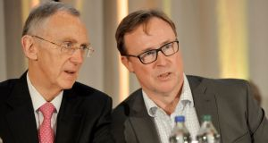 Aryzta chief executive Kevin Toland, right, pictured beside the company's chairman Gary McGann. Might Toland be wishing he had remained in charge of DAA? Photograph: Alan Betson / The Irish Times