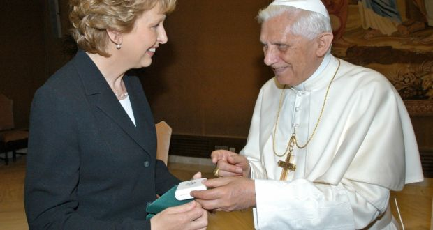 Then president Mary McAleese meets with Pope Benedict in the Vatican in 2005. Photograph: Osservatore Romano/Reuters