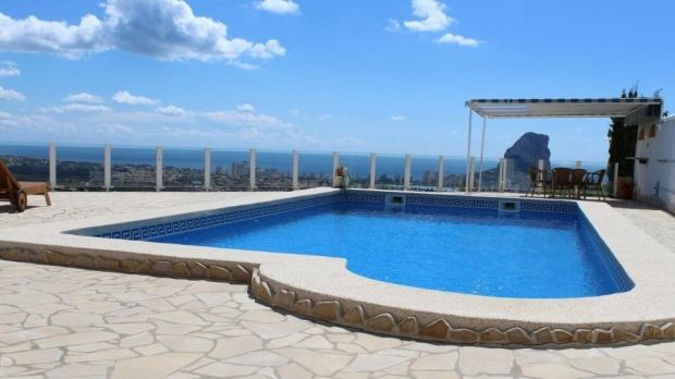 The swimming pool of the villa in Calpe, Spain