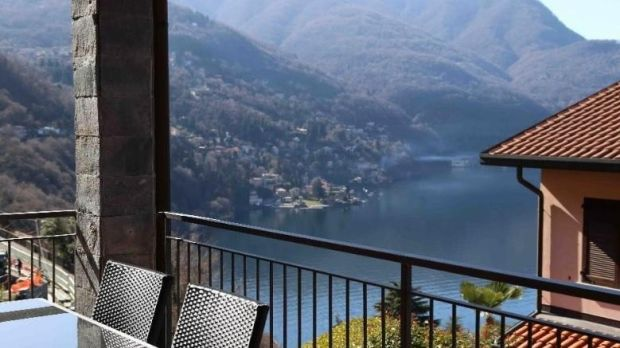 Views over Lake Como from a three-bed In the hillside village of Pognana Lario, Italy