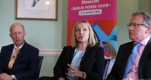 Horse Sport Ireland chief executive Ronan Murphy,  Lucinda Creighton and economist Jim Power at an RDS  discussion about the challenges that Brexit poses to the Irish sport horse industry. Photograph: Sam Boal/RollingNews.ie