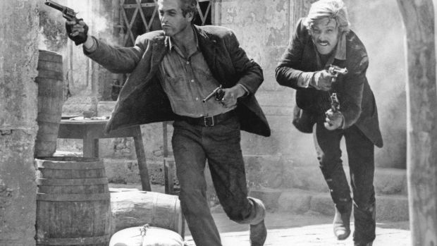 With Paul Newman (left) in the final shootout scene from 'Butch Cassidy and the Sundance Kid'. Photograph: AP Photo/20th Century Fox
