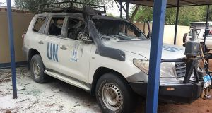 A UN jeep attacked in Fr Tony O'Riordan's Sudanese refugee compound in South Sudan. Photograph: Fr Tony O'Riordan, forwarded by Press 22