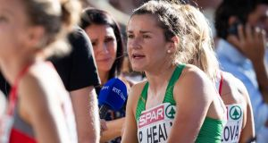 Ireland's Phil Healy is interviewed by RTE after her race. Photograph: Morgan Treacy/Inpho