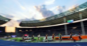 Runners compete in the men's 10,000m final at the Athletics 2018 European Championships in Berlin,   August 7th. 2018. Photograph: EPA/Srdjan Suki