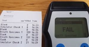 Gardaí tweeted a photograph of the failed breath test. Photograph: @GardaTraffic