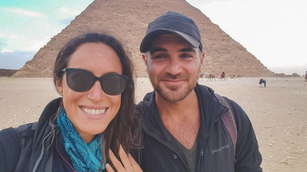 Austin and Geoghegan visit the pyramids in Egypt. Photograph: Simplycycling.org via The New York Times