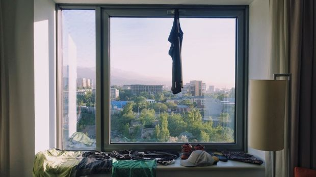 Drying clothes in a hotel room in Almaty, Kazakhstan. Photograph: Simplycycling.org via The New York Times