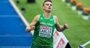 Ireland's Marcus Lawlor after finishing his 200m heat in Berlin. Photograph: Morgan Treacy/Inpho