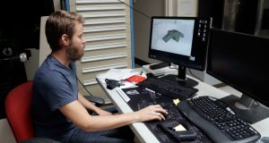 Ben Chalker shows the CAD software of a 3D-printable gun called the Liberator, at a factory in Austin, Texas.