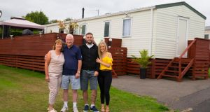 Maurice and Suzanne Hedderman with their son Luke and Luke's girlfriend Jessica Rielly at Prospect Park Mobile Home Park, Ballymoney, Gorey, Co Wexford. Photograph: Patrick Browne