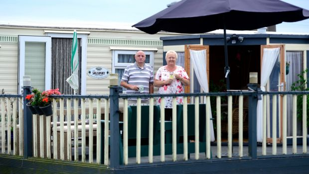 Linda and Tom Mulrennan at their mobile home in Lynder's Mobile Home Park, Portrane. Photograph: Cyril Byrne