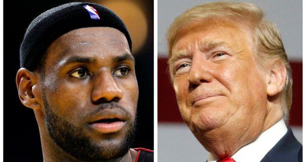 92a5265b3e726 A combination photo of NBA basketball player LeBron James and US President  Donald Trump. Photo