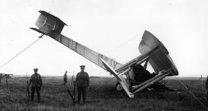 "The converted Vickers Vimy bomber used by  John Alcock  and  Arthur  Brown  to make the first non-stop transatlantic flight. It ""landed"" in Derrigimlagh bog in Connemara on June 15th, 1919. Photograph: Getty Images"