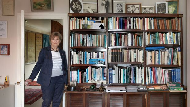 Ann Henning Jocelyn in her study with a collection of books. Photograph: Joe O'Shaughnessy