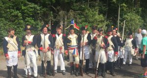 Remembering Gen Humbert (centre in big hat) and troops in a re-enactment at his home in Saint-Nabord last month.
