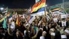 The Druze community demonstrates against the controversial Nationality Law in Rabin square, Tel Aviv, Israel. Photograph: Ebir Sultan/EPA