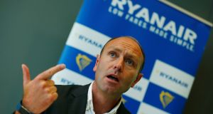 Kenny Jacobs, chief marketing officer of Ryanair, at a news conference in Frankfurt on Wednesday. Photograph: Ralph Orlowski/Reuters