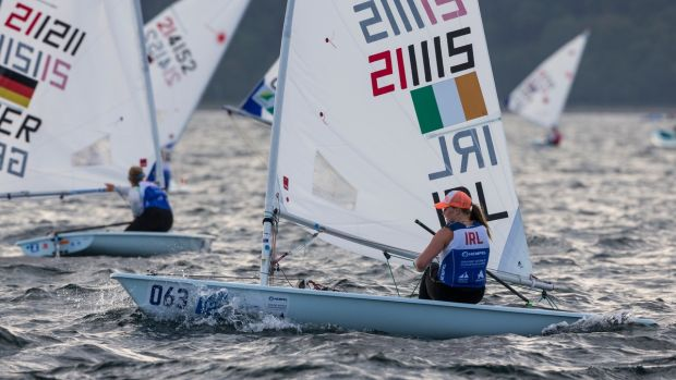 Ireland's Aoife Hopkins from Howth Yacht Club competes in the Laser Radial Gold fleet at the Hempel Sailing World Championships 2018 at Aarhus, Denmark. Photograph: David Branigan/Oceansport