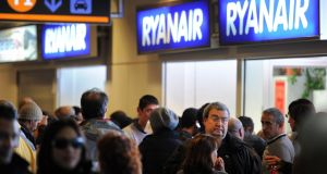 Hundreds of  Ryanair flights are  being cancelled as pilots in many European cities have given notice of strikes against the carrier on Friday. Photograph:  Jasper Juinen/Getty Images