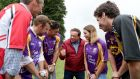 Davy Russell, Richie Hogan, Lee Chin, Marty Morrissey, Ursula Jacob, Jamie Codd and Danny Mullins ahead of the Hurling For Cancer Research 2018 match in Newbridge, Co Kildare. Photograph: Morgan Treacy/Inpho