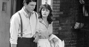Margot Kidder with Christopher Reeve during the filming of Superman in 1977