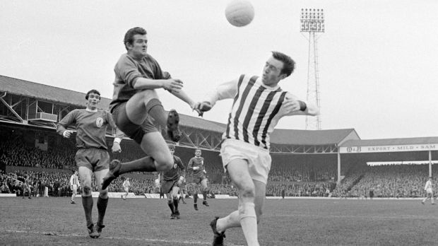 West Brom forward Jeff Astle (right) challenging for the ball with Liverpool goalkeeper Tommy Lawrence in March, 1968. Photograph: PA