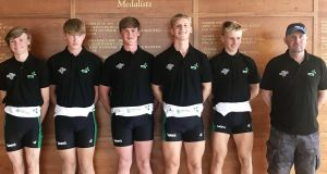 The Ireland men's junior coxed four which qualified directly for their semi-final at the World Junior Championships in Racice in the Czech Republic, with their coach Fran Keane. (L-R) Eoin Finnegan, Conor Mulready, James O'Donovan, Fintan O'Driscoll and Eoin Gaffney.