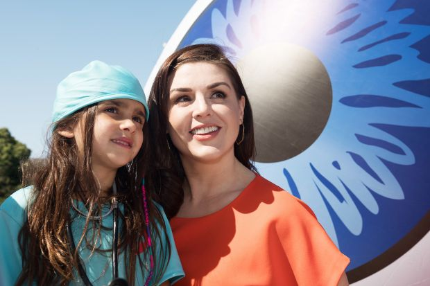 Síle Seoige and Laura Bakshi (aged 6, from Salthill) at Eyre Square, Galway for the launch of Sightsavers Ireland's new Missed Moments campaign. Photograph: Andrew Downes/XPOSURE