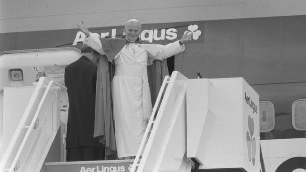 Pope John Paul II gives his farewells to the crowds gathered at Shannon before leaving the country on an Aer Lingus flight in 1979. Photograph: Dermot O'Shea