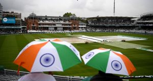 Indian supporters wait for the start of the second Test between England and India  at Lord's on Thursday. Photograph:  Gareth Copley/Getty Images