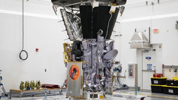 The Parker Solar Probe in a clean room at Astrotech Space Operations in Titusville, Florida, after the installation of its heat shield. Photograph: Ed Whitman/Johns Hopkins APL/NASA via AP.