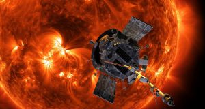 A   Nasa image shows an artist's rendering of the Parker Solar Probe approaching the sun. It's designed to take solar punishment like never before, and  is capable of withstanding temperatures of up to 1,650 degrees. Photograph: Steve Gribben/Johns Hopkins APL/NASA via AP.
