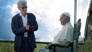 Wim Wenders with Pope Francis.