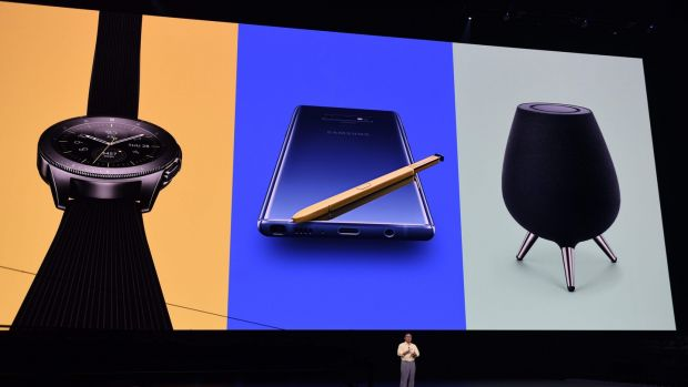 Samsung boss DJ Koh unveils the Galaxy Note 9, along with a new smart watch and smart speaker at a launch event in New York.