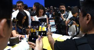 Smartphone pics of the latest Samsung  Galaxy Note 9 smartphone during an Unpacked event in  New York