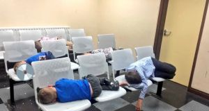 On of Margaret Cash's photographs of her children asleep in Tallaght Garda station on Wednesday night.