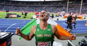 Ireland's Thomas Barr celebrates winning the  bronze medal in the 400m hurdles at the European Athletics Championships at the Olympic Stadium in Berlin. Photograph: Morgan Treacy/Inpho