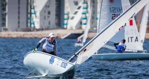 Finn Lynch:  won  the first race in the Gold fleet for the Laser event at the Hempel Sailing World Championships 2018 at Aarhus, Denmark. Photograph: David Branigan/Oceansport