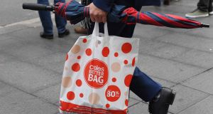 Australia's two major supermarket chains, Coles and Woolworths, announced that they would ban plastic bags nationally. Photograph: EPA/PETER RAE